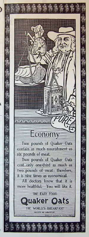 1898 Quaker Oats Scales Advert