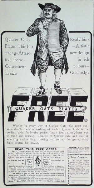 1905 Quaker Oats Plates Advert