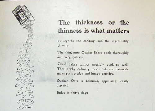 1910 Quaker Oats Thickness Advert