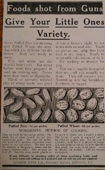1913 Quaker Oat Puffed Wheat Advert Shot from a Gun