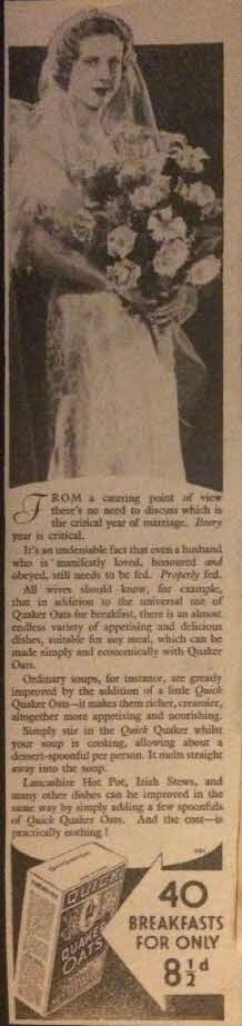 1934 Quick Quaker Oats Advert