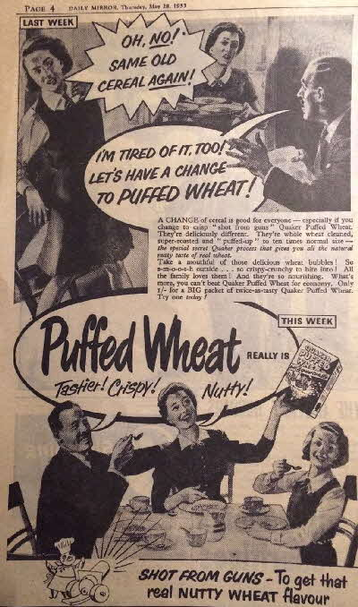 1953 Puffed Wheat Advert